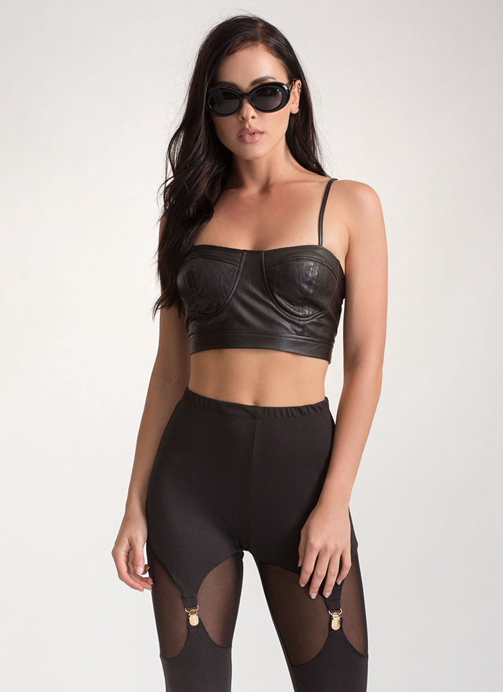 Moto Gal Faux Leather Bustier Top BLACK