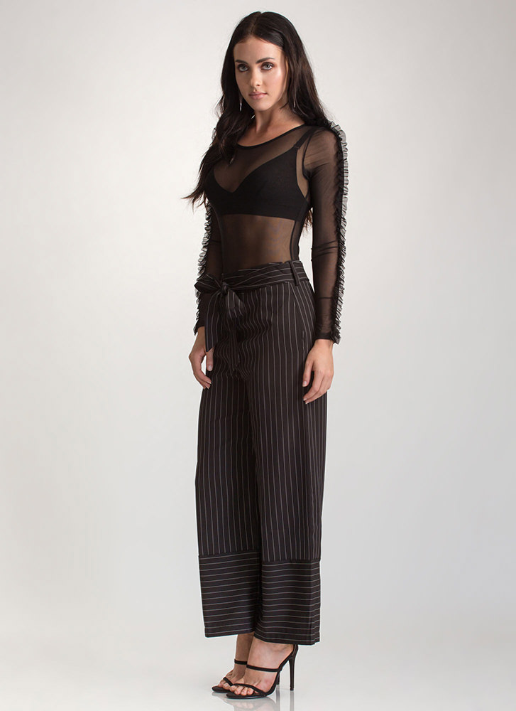 Sign On The Line Wide Tied Pants BLACK