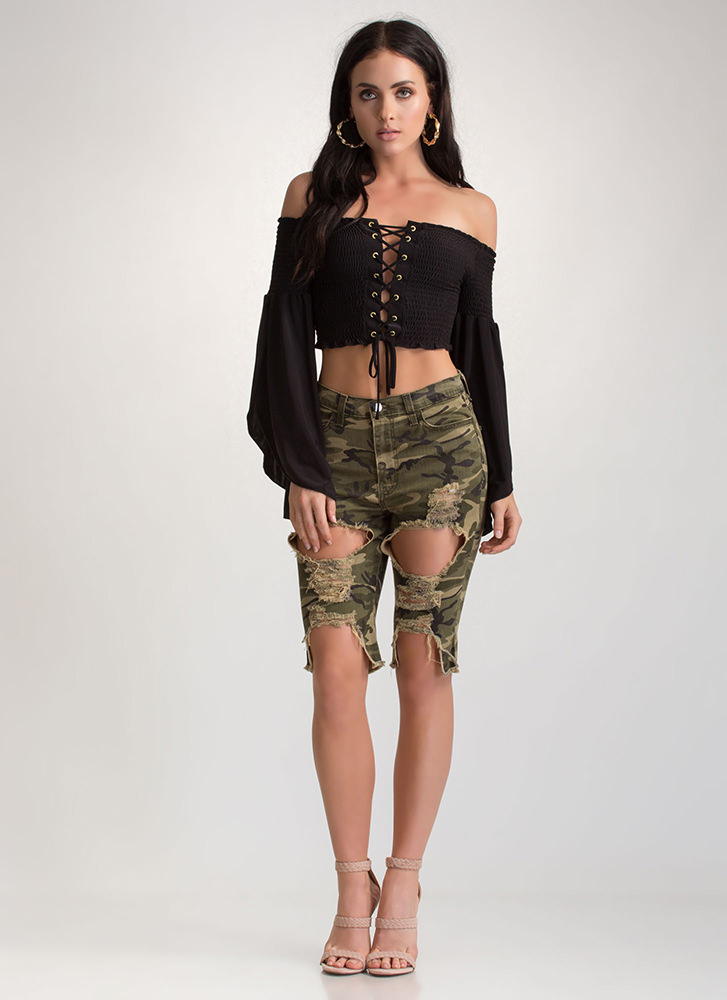 Combat Distressed Camo Bermuda Shorts CAMOUFLAGE