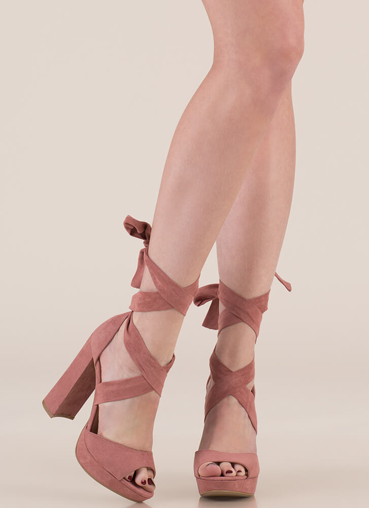 Chic Outcome Chunky Lace-Up Heels DUSTYROSE