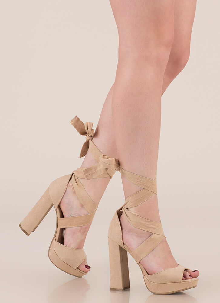Chic Outcome Chunky Lace-Up Heels NATURAL