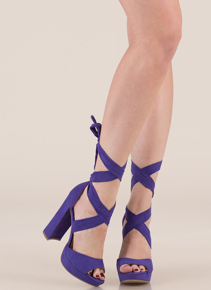 Chic Outcome Chunky Lace-Up Heels ULTRAVIOLET