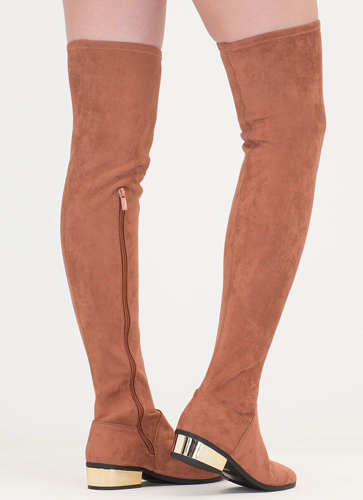 Gleam On Thigh-High Faux Suede Boots MOCHA