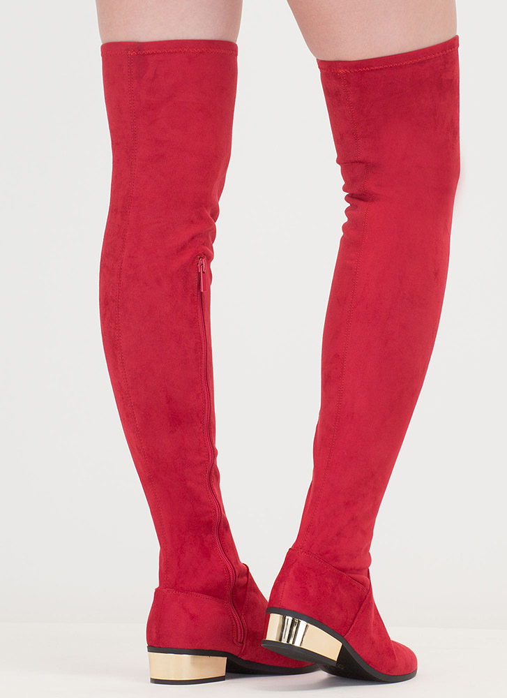 Gleam On Thigh-High Faux Suede Boots RED