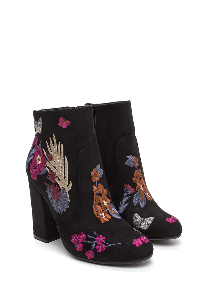Social Butterfly Faux Suede Booties BLACK