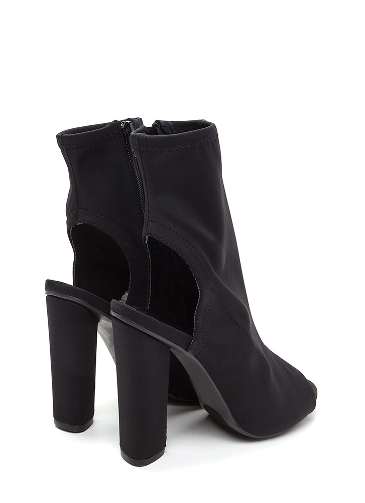 Unique 'N Sleek Chunky Cut-Out Booties BLACK