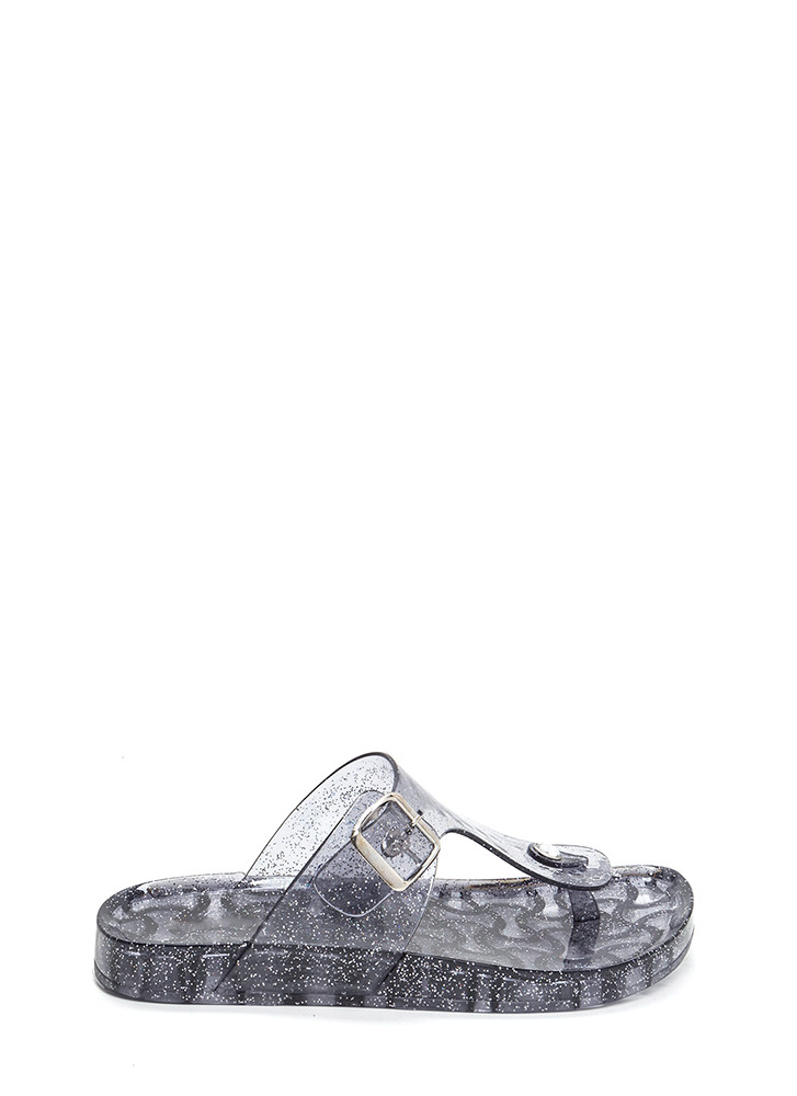 Daily Glitz Thong Jelly Slide Sandals SMOKE