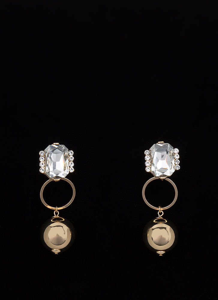 Three Times A Lady Jeweled Ball Earrings GOLD