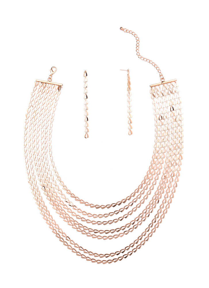 Simple Option Triangle Link Necklace Set ROSEGOLD