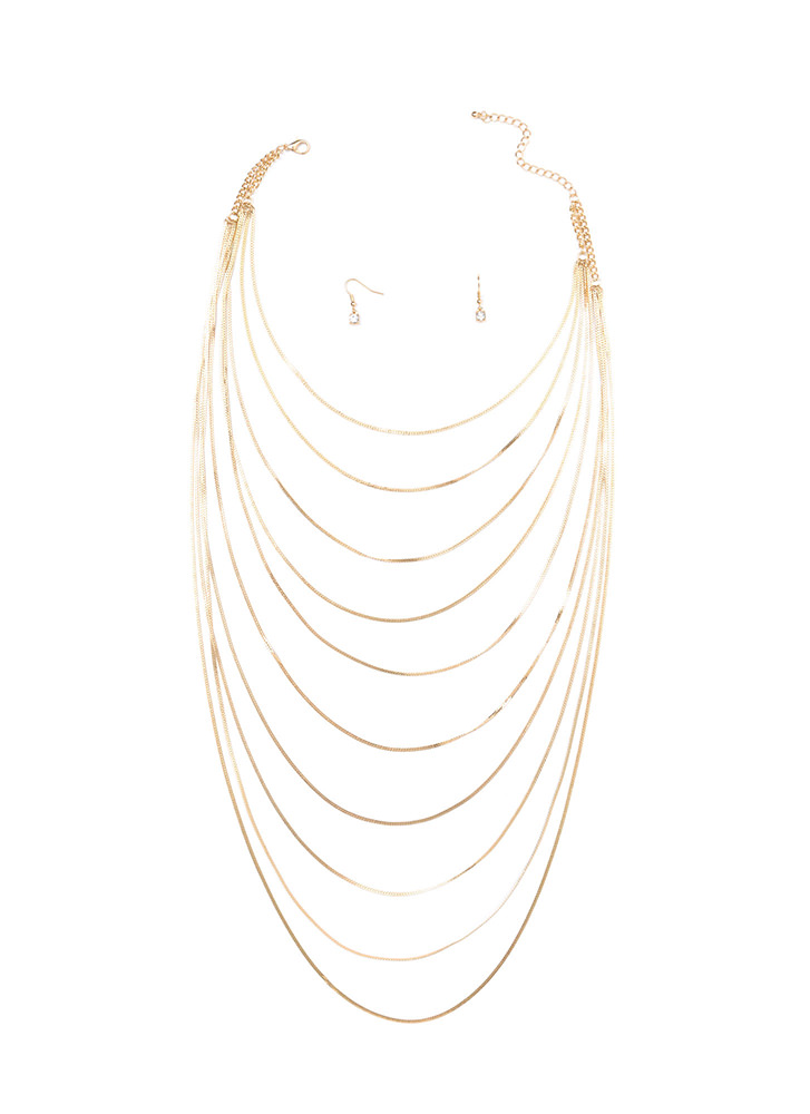 Chain-ge Of Heart Draped Necklace Set GOLD