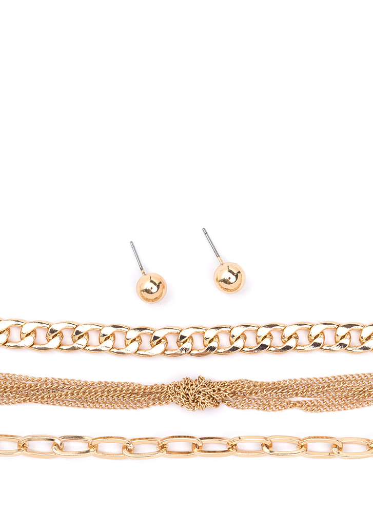 Top Of The Chain Necklace Set GOLD