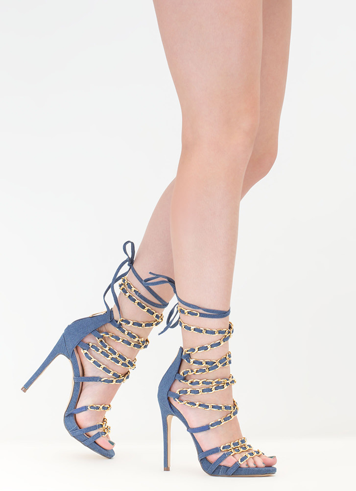 Denim Doll Caged Lace-Up Chain Heels DENIM (Final Sale)