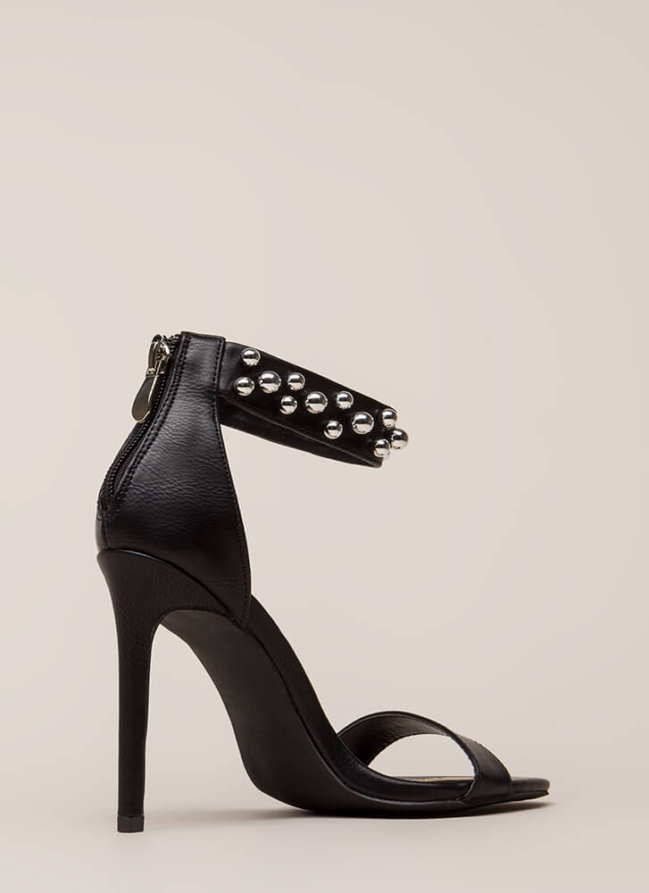 Shiny Baubles Strappy Faux Leather Heels BLACK