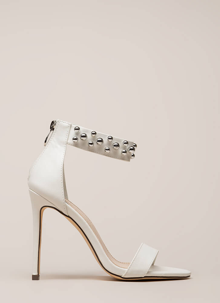 Shiny Baubles Strappy Faux Leather Heels WHITE