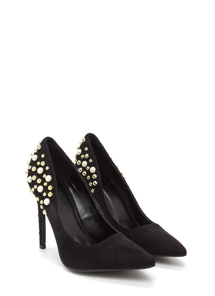 Sparkle Power Pointy Faux Suede Heels BLACK