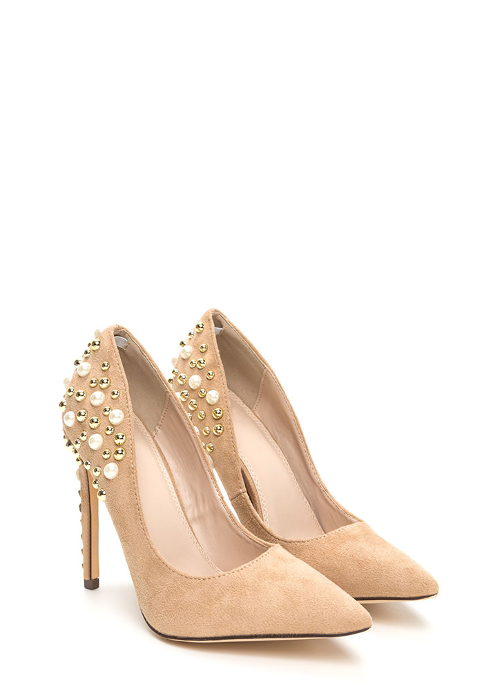 Sparkle Power Pointy Faux Suede Heels NUDE