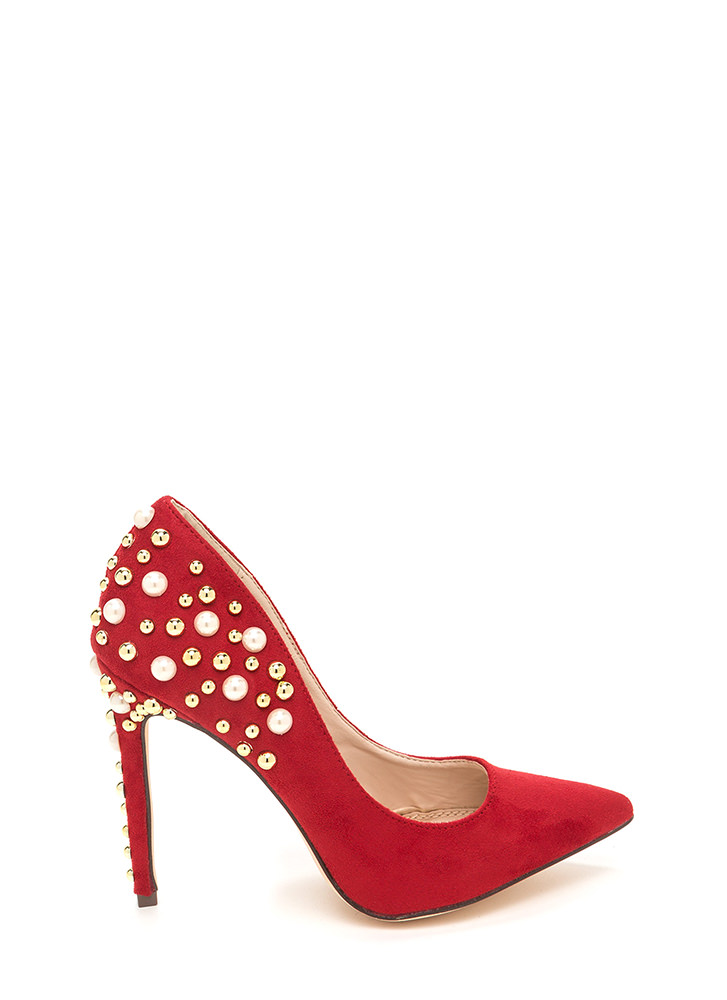 Sparkle Power Pointy Faux Suede Heels RED