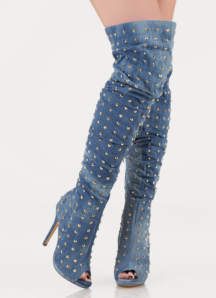 Total Stud Slouchy Denim Boots BLUEWASH (You Saved $43)