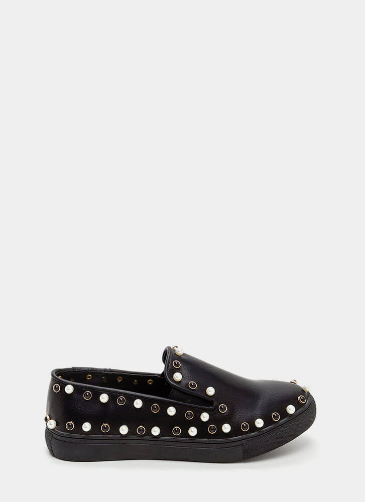 Bejeweled Beauty Faux Leather Sneakers BLACK