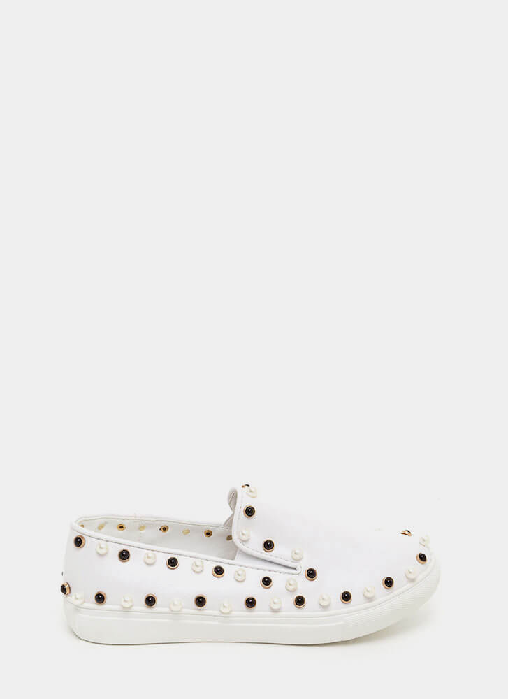 Bejeweled Beauty Faux Leather Sneakers WHITE