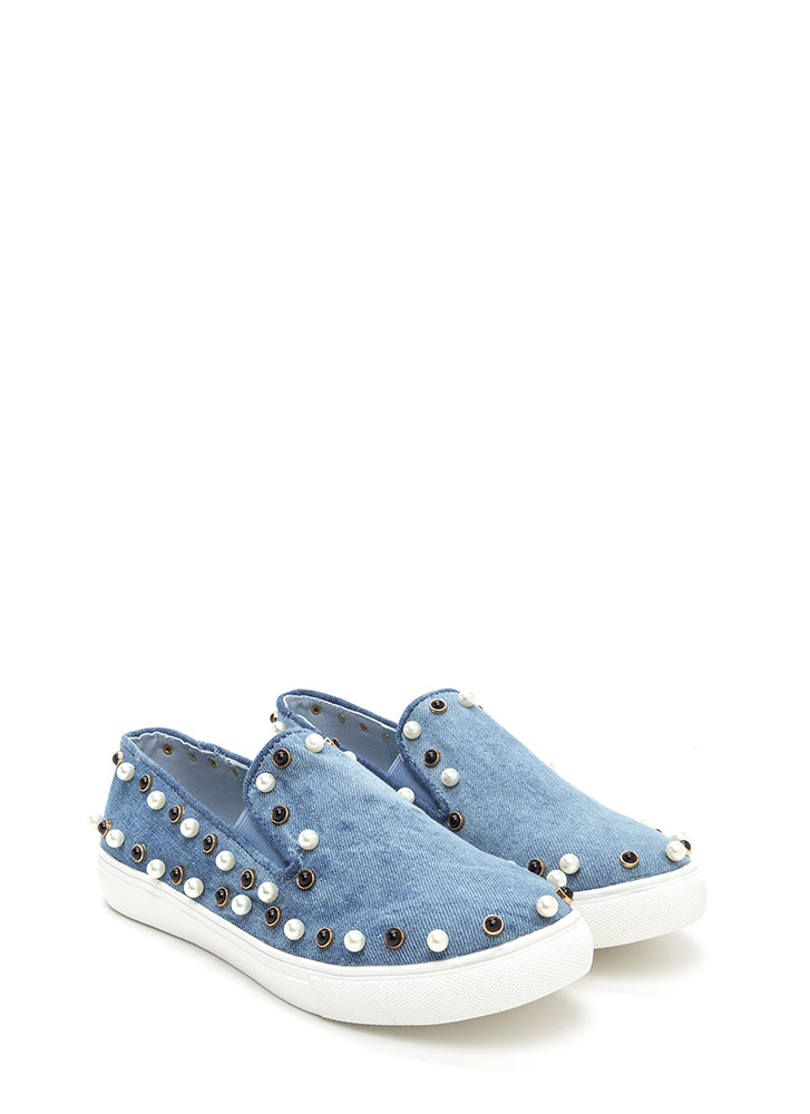 Bejeweled Beauty Denim Slip-On Sneakers BLUEWASH