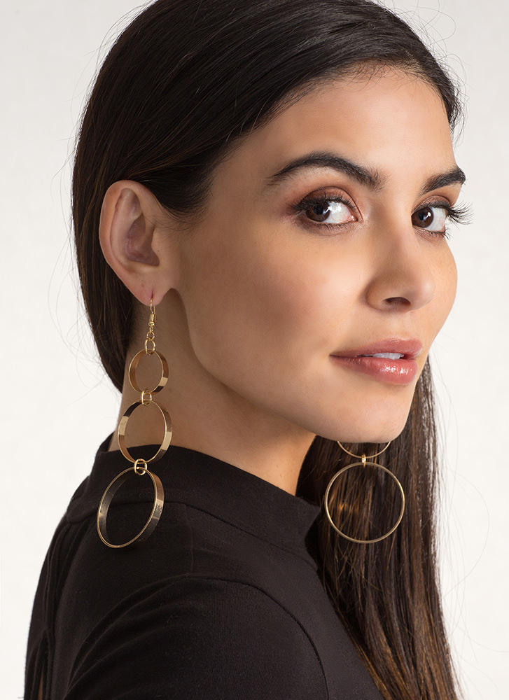 Three-Piece Band Circle Earrings GOLD