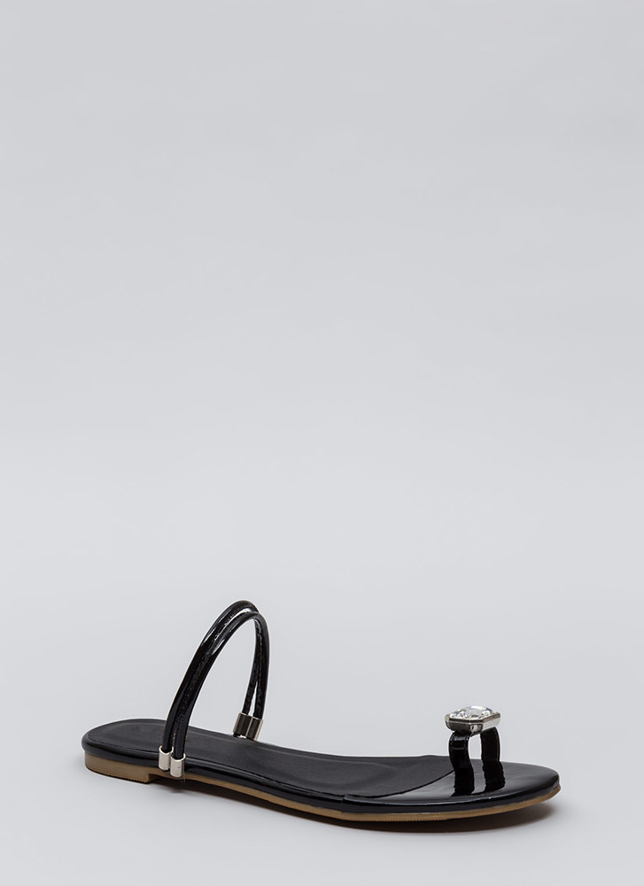 Midas Touch Jeweled Faux Patent Sandals BLACK