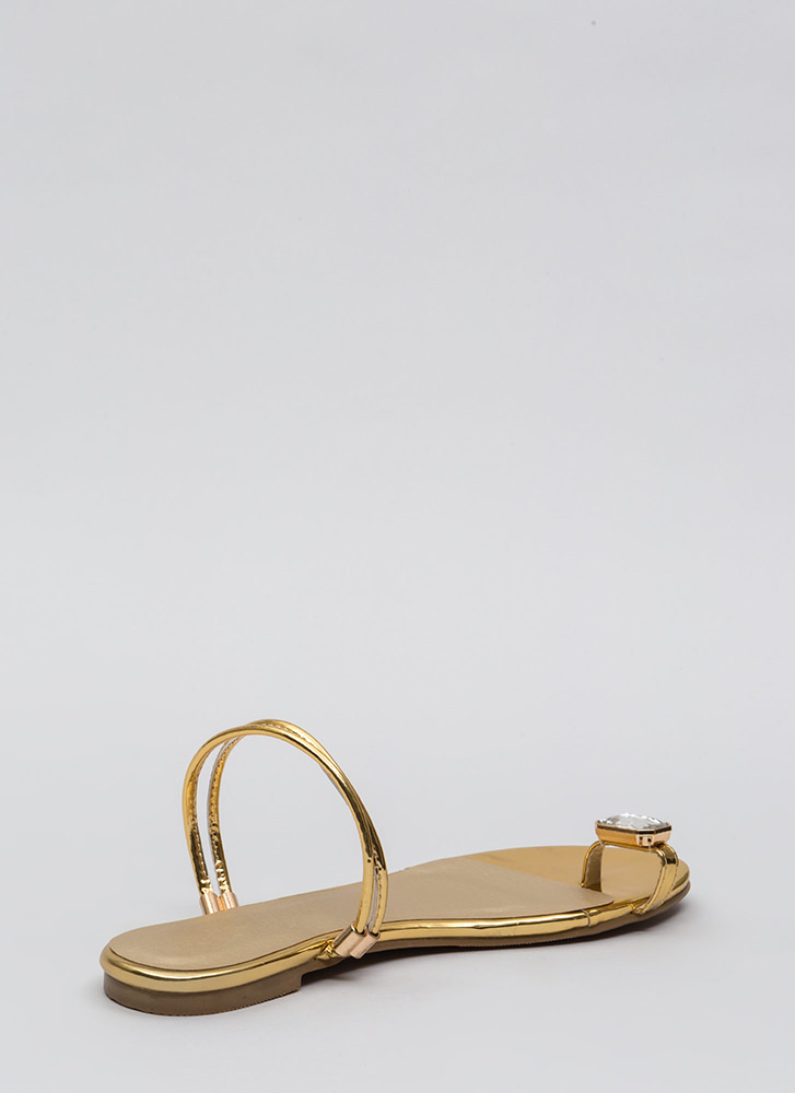 Midas Touch Jeweled Metallic Sandals GOLD
