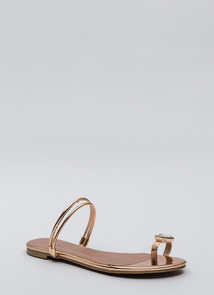Midas Touch Jeweled Metallic Sandals ROSEGOLD
