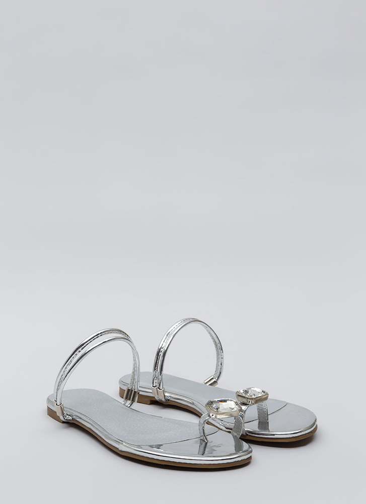 Midas Touch Jeweled Metallic Sandals SILVER