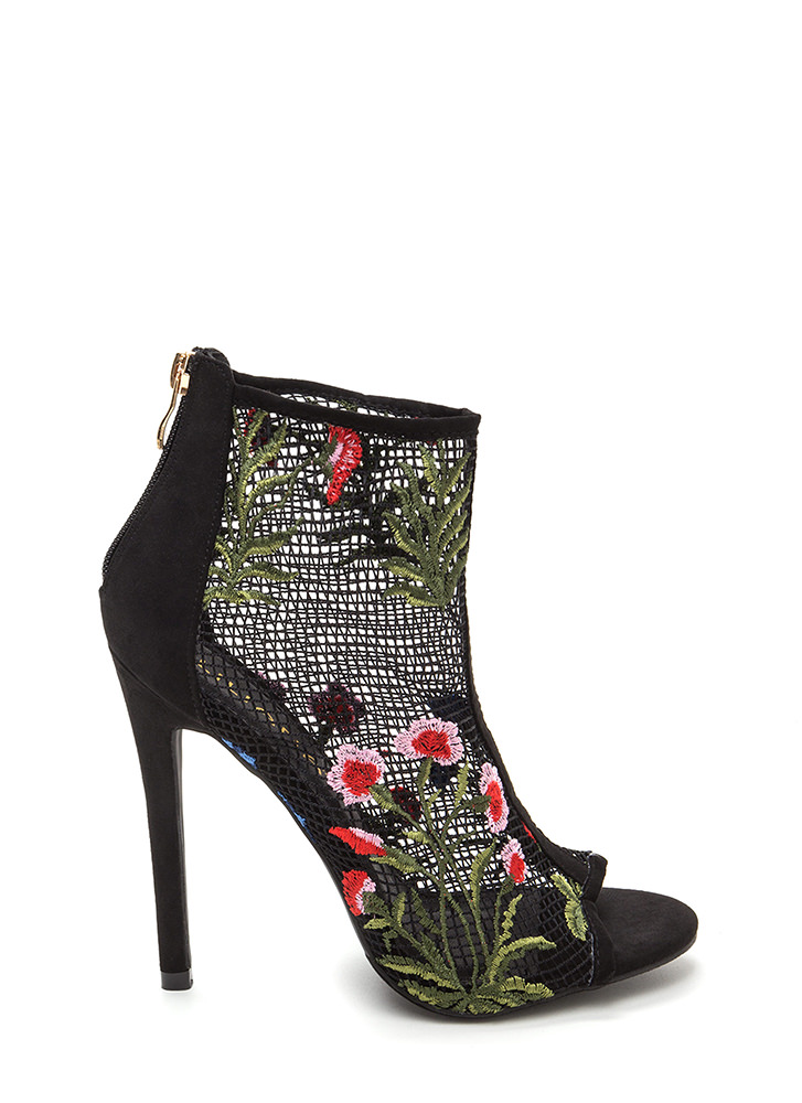 Fleur Fun Sheer Fishnet Heels BLACK
