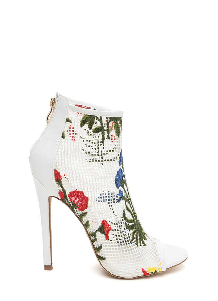 Fleur Fun Sheer Fishnet Heels WHITE