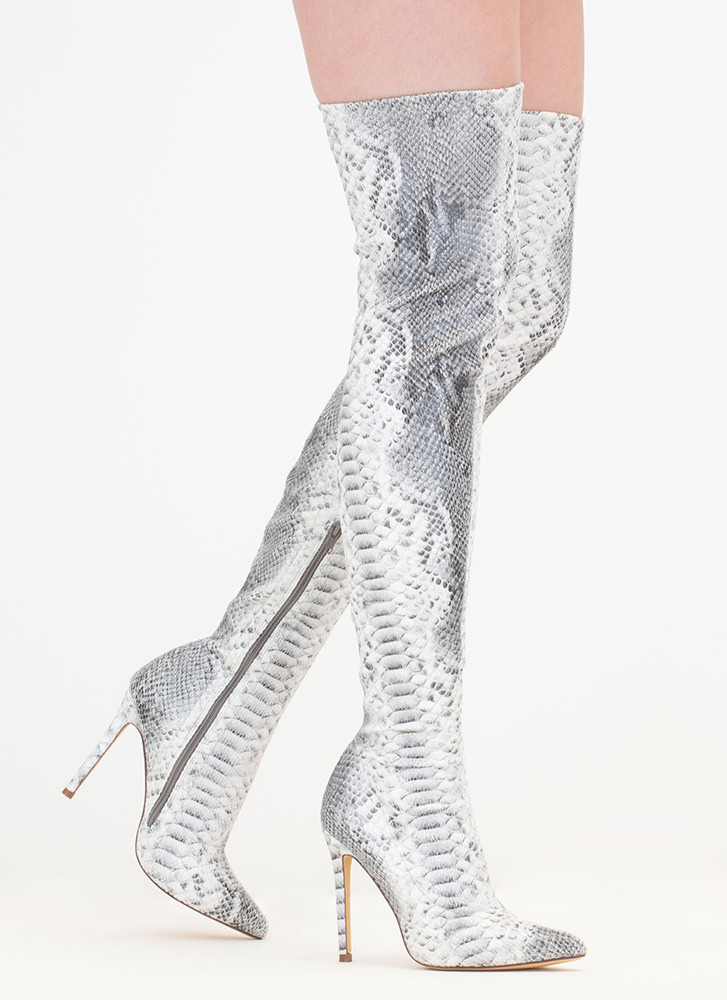 Long Story Snakeskin Thigh-High Boots SNAKE