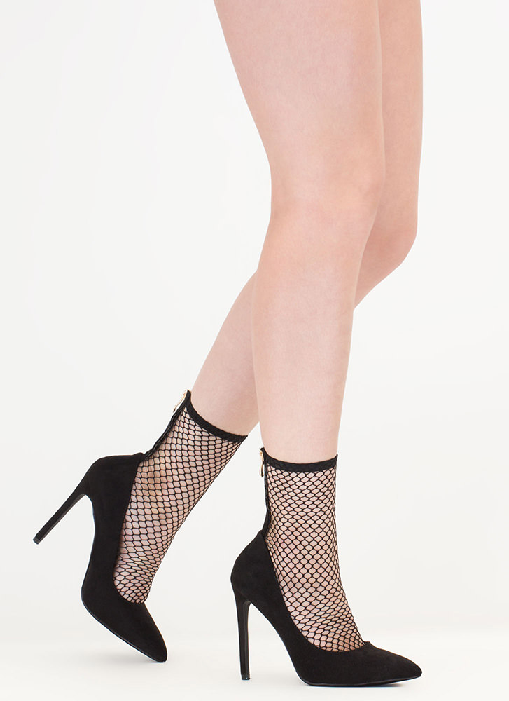 Sheer Me Yours Pointy Fishnet Booties BLACK