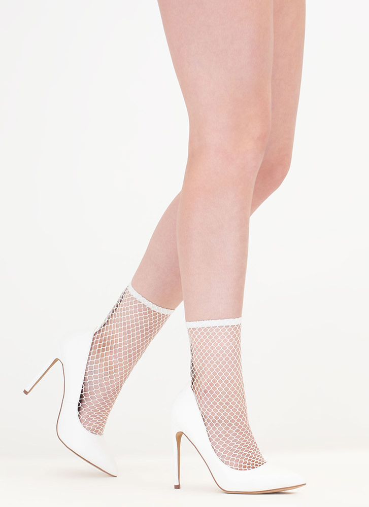 Sheer Me Yours Pointy Fishnet Booties WHITE