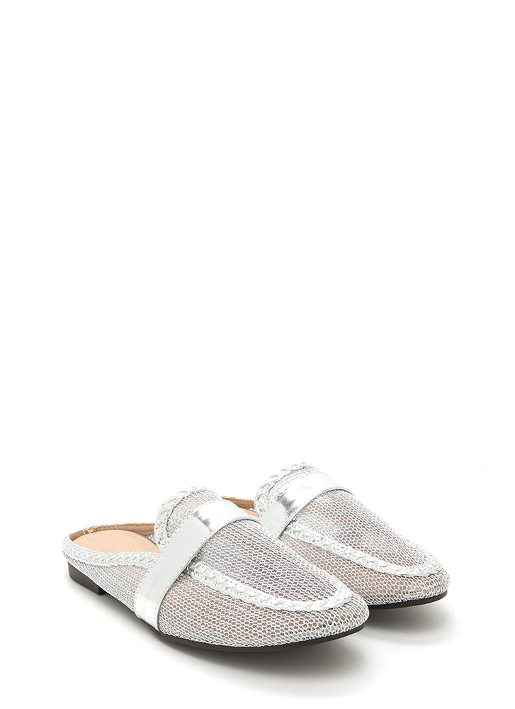 Great Catch Metallic Mule Flats SILVER