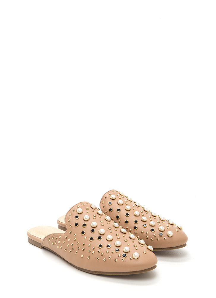 Gilded Age Faux Leather Mule Flats NUDE