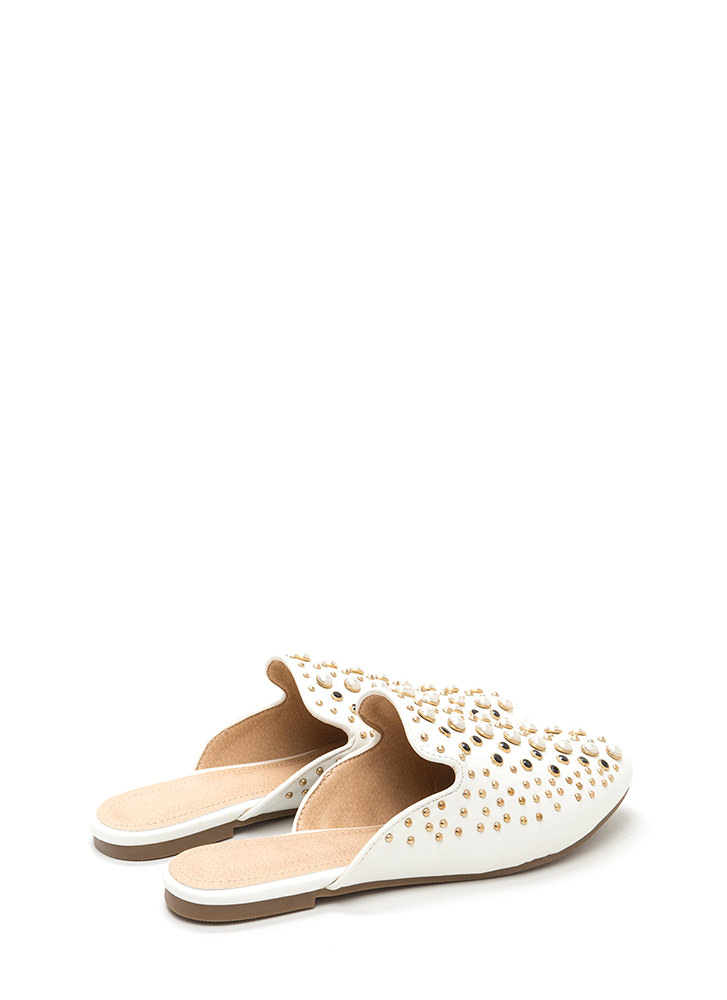 Gilded Age Faux Leather Mule Flats WHITE