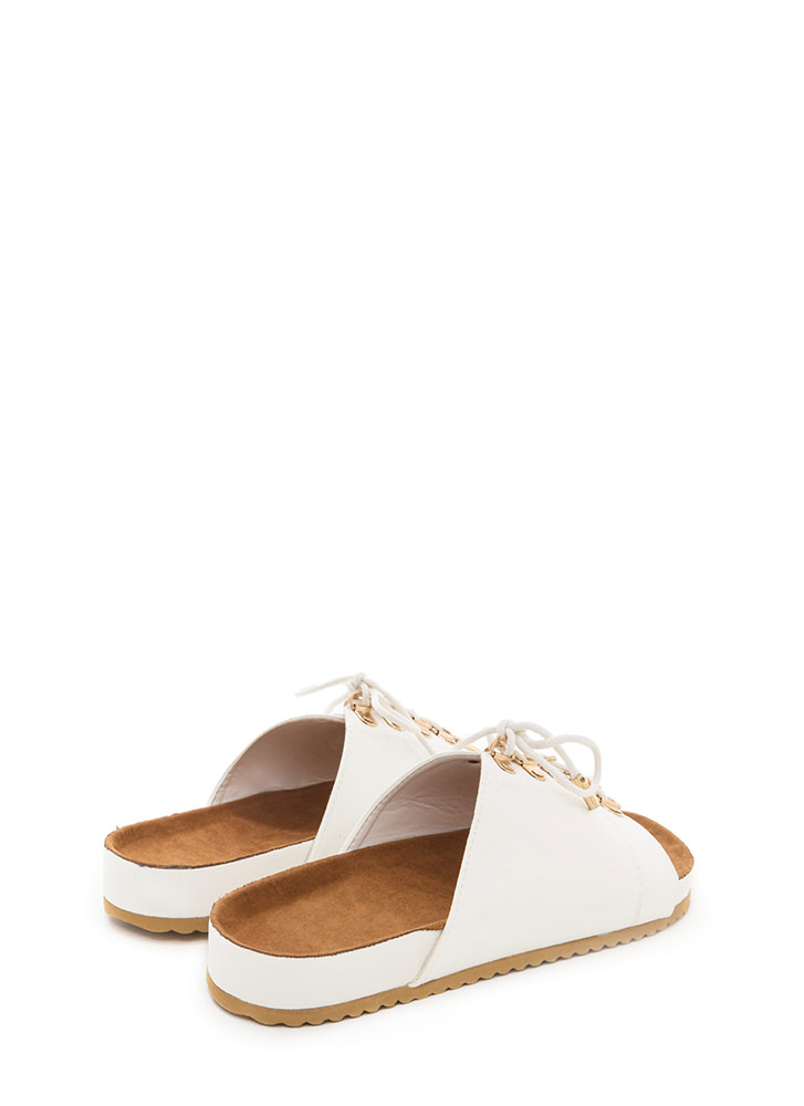 Ride Or Tie Faux Leather Slide Sandals WHITE