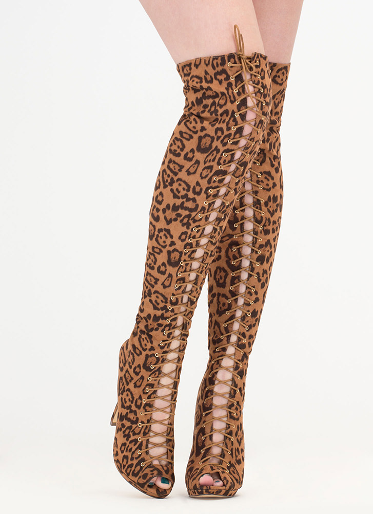 Jungle Trail Leopard Thigh-High Boots LEOPARD