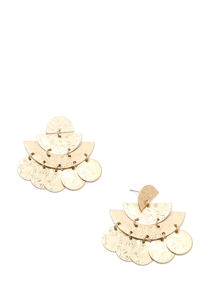 So Foolproof Textured Geometric Earrings GOLD