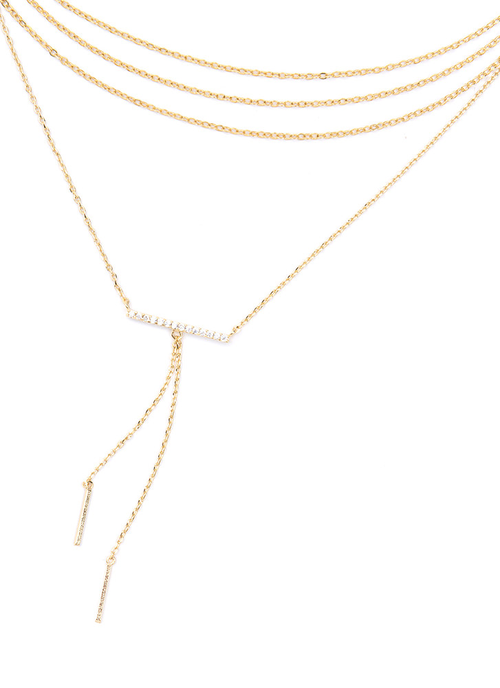 Bar None Layered Chain Necklace GOLD (You Saved $11)