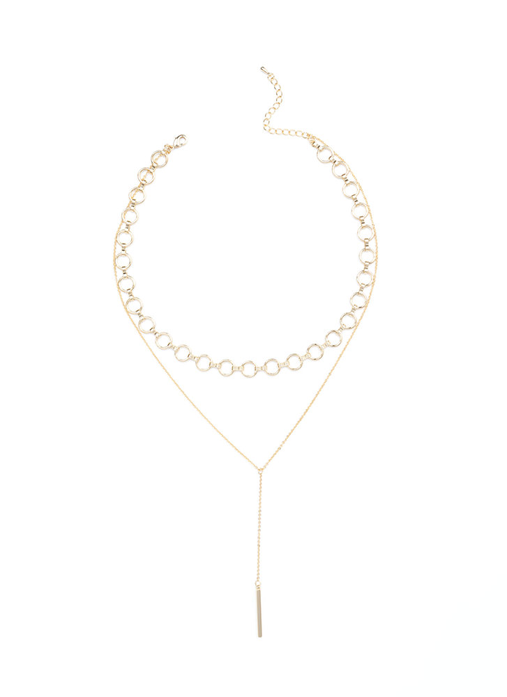 Bar With Me Layered Y-Necklace GOLD
