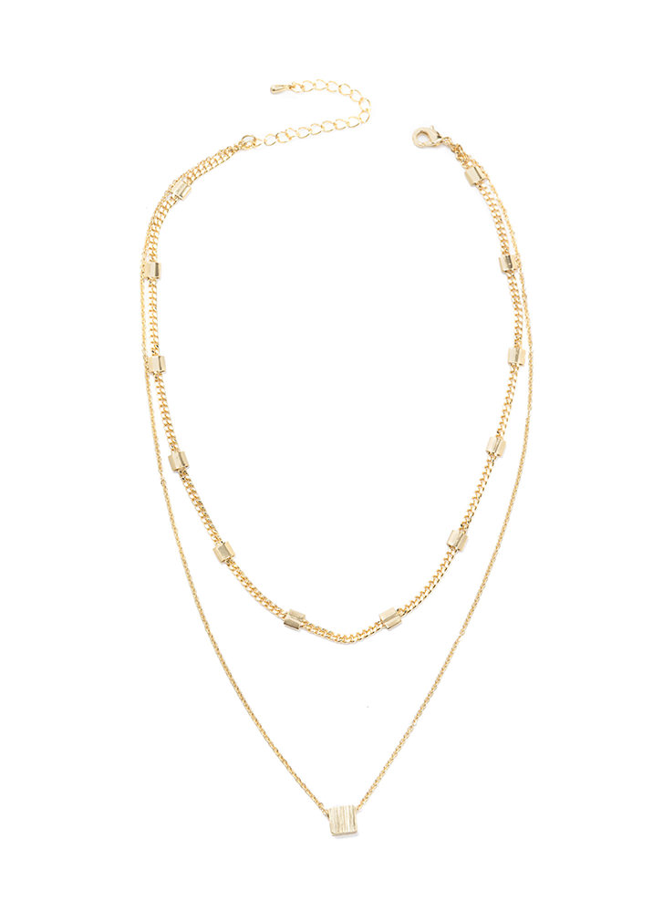 Fancy Chic Double Chain Necklace GOLD