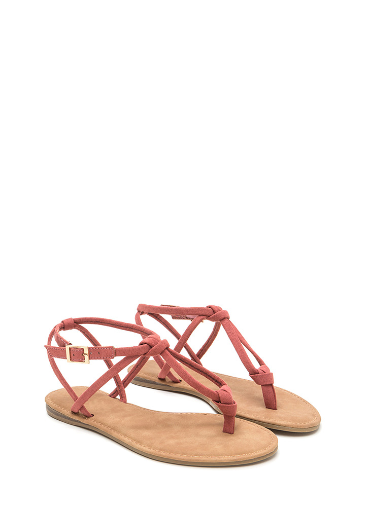 Knot To Worry Faux Suede T-Strap Sandals DKMAUVE