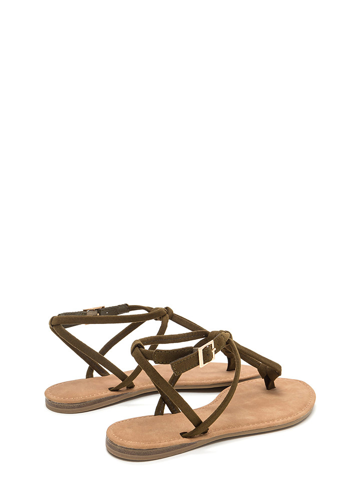 Knot To Worry Faux Suede T-Strap Sandals OLIVE