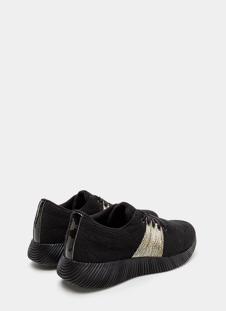 Gleam Up Textured Contrast Sneakers BLACK