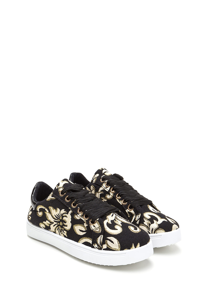 Flower Fix Shiny Embroidered Sneakers BLACKGOLD