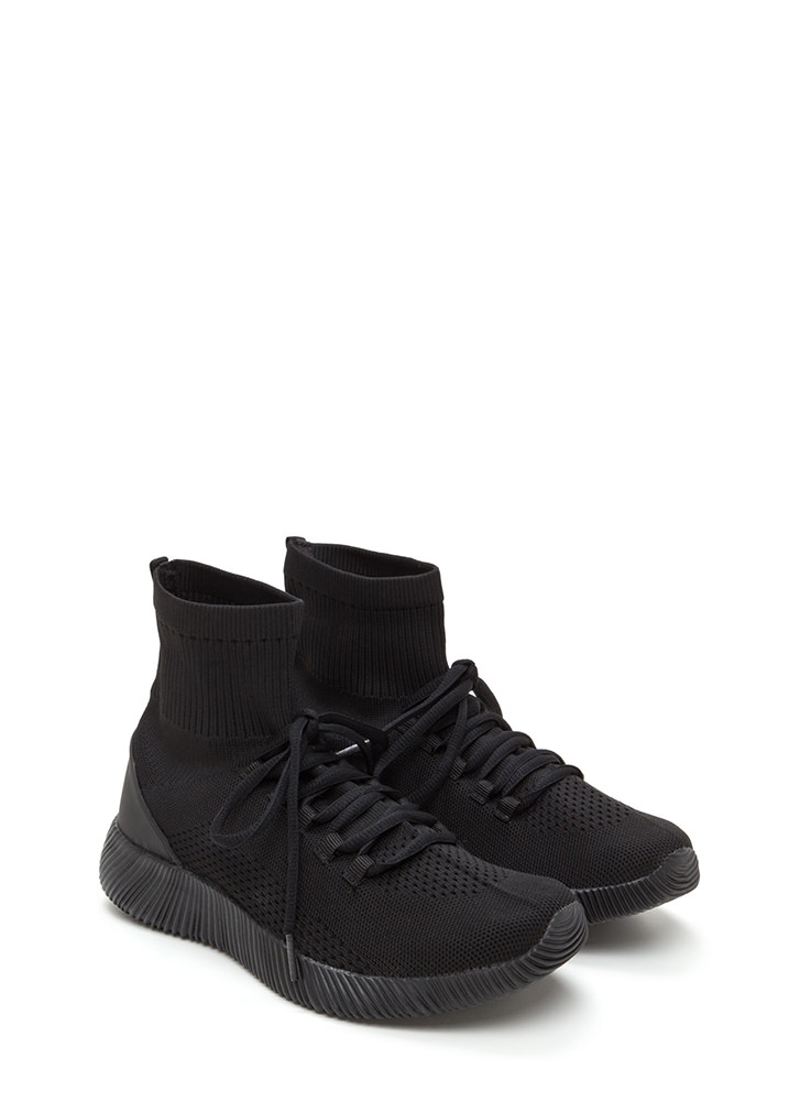 Street Style Edit Knit High-Top Sneakers BLACK