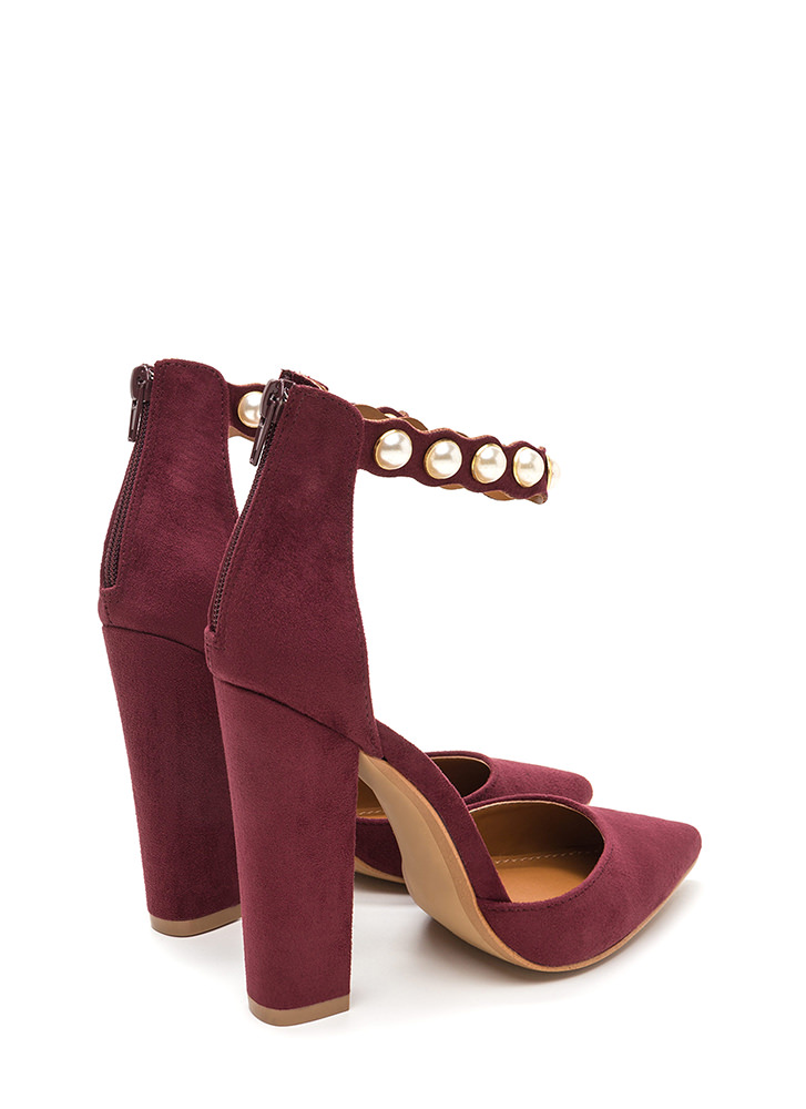 Pearl Party Pointy Chunky Heels WINE